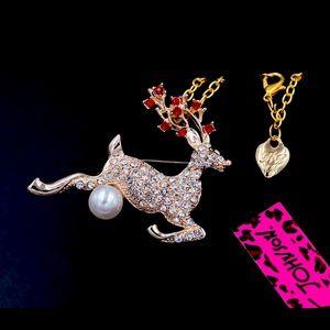 New BetseyJohnson Deer Pendant Necklace Brooch